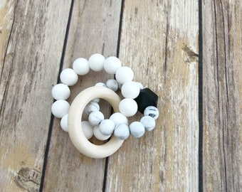 Double Silicone Teething Ring, Teething Bracelet, Baby Rattle, New baby Gift, Natural Teether Ring