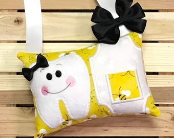 Personalized Tooth Fairy Pillow- Bees- H0402