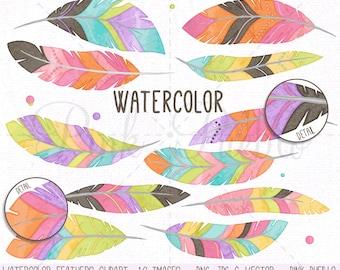 Watercolor Feather Clipart Clip Art Vectors, Tribal Feather Clip Art Clipart Vectors - Commercial and Personal