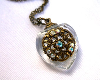 Vintage Inspired Crystal And Brass Heart Perfume Bottle Necklace