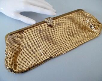 SALE :)) LIQUID GOLD . Metal Mesh Art Deco Antique Vintage Clutch Bag Handbag Opera Evening Special Occasion