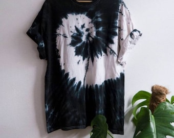 Organic Cotton Tee, Black Tie-Dye Shirt, indie, festival, hippie, tumblr