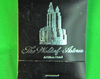 Vintage Matchbook Cover 1970's The Waldorf Astoria New York 20S NYC VG F BS