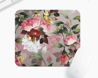 Floral Mouse Pad, Flower Mousepad, Rectangle or Round Circular, Gift mp0024