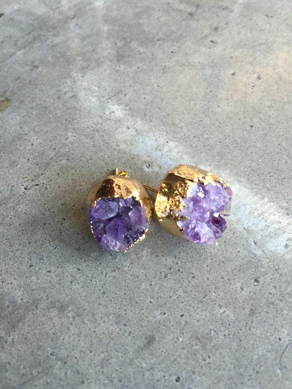 Druzy amethyst earrings, Druzy earrings, Druzy Studs, Druzy Stud Earrings, Boho Jewelry