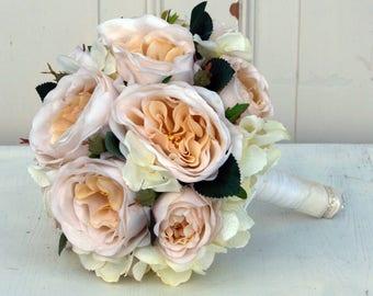 Fri-Collection Bridal bouquet biedermeier with cream silk flowers roses