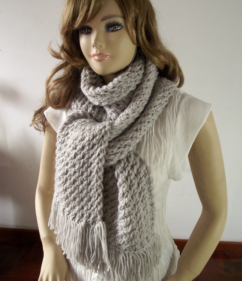 Knitting Scarf Pattern Central Park With Fringes Big Scarf For