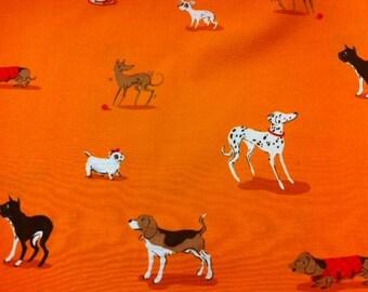 FQ Heather Ross Dogs on Orange - Destash Sale Cotton Fabric