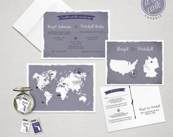 Destination wedding invitation Bilingual World Map Destination Wedding Invitation Lilac Purple Grey Colors German English  DEPOSIT Payment