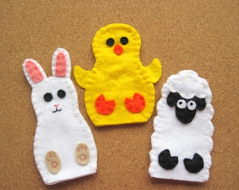 PATTERN: Easter Finger Puppet sewing tutorial - Bunny Rabbit, Sheep, Chick felt DIY childrens toy PDF - Dress Up play Holiday accessory