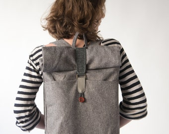 Gray Rolltop Backpack, Laptop Backpack ,Grey Backpack, Travel backpack, Men Backpack, Vegan backpack, Canvas backpack, Fabric backpack