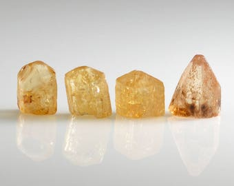 Golden Imperial Topaz Crystals Four Precious Topaz Natural Crystals