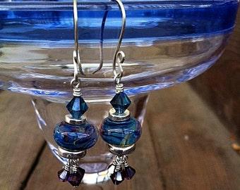 Blue and Purple Boro Bead Earrings