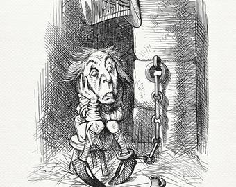 The King's Messenger - Mad Hatter - Through the Looking-Glass - Alice in Wonderland classic poster  illustration by J. Tenniel print #90