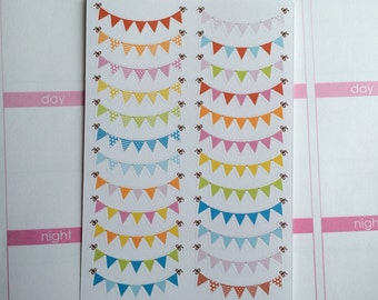 Daily Bunting Banner Planner Stickers, Weekend Banner Stickers, Birthday Banner Stickers, set of 24