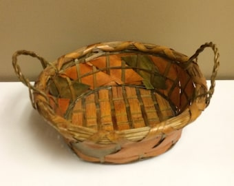 Golden Orange and Olive Green Stained Wicker Basket