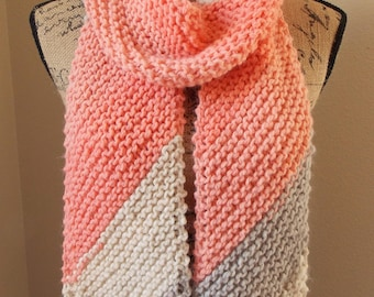 Peach Striped Scarf, hand knit from wool blend yarn, bias knit scarf with cream, ecru and two tones of peach, 1970s style scarf