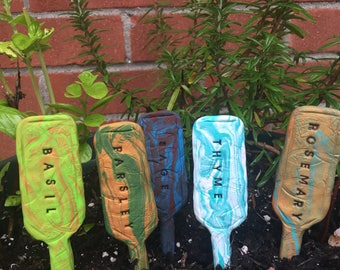 Set of Five Garden Planter Herb Markers hand stamped sculpted polymer clay choose your colors and herbs