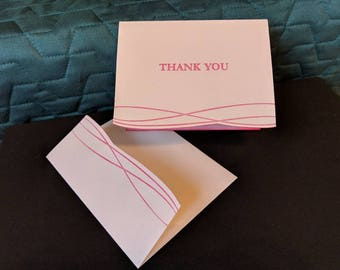 Pink Letterpress Thank You Cards with Glitter Set of 2