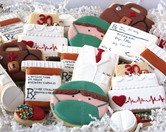 Medical Decorated Cookies, White Doctor's Coat Cookies, Medical Bag cookies. Pill bottle cookies,