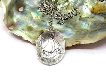Perfect gift for a salior, Sailboat  necklace, sailing necklace, nautical necklace, silver plate necklace