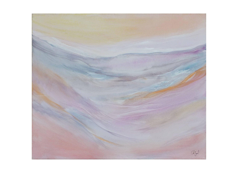 Tableau paysage abstrait pastel rose jaune p le gris clair - Peinture jaune pale ...