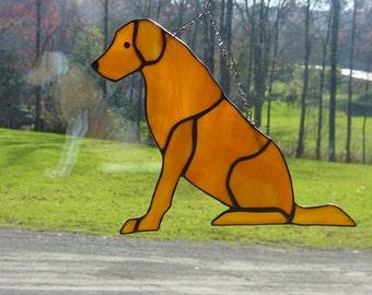 Custom made stained glass labrador dog