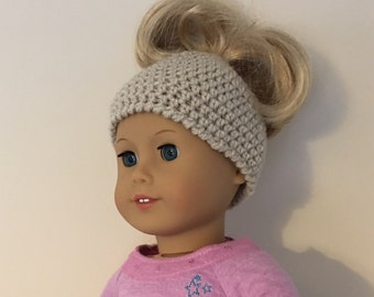 """Doll messy bun hat  - suitable for 18"""" dolls. 18 inch doll, 18"""" doll, doll hat (will fit American girl, Gotz precious day)"""