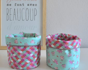 Pink Green beige baskets