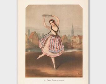 "Bohemian Art, Vintage Ballet Dancer Gift (Ballerina Wall Decor, 1940s Gypsy Boho Print) --- ""Alma"""