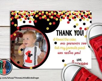 Mickey Mouse first birthday thank you card with photo, gold glitter confetti red and black, printable card, put on your ears