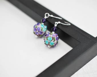 Flower Earrings, Purple Earrings, Purple Flower Earrings, Floral Earrings, Lampwork Earrings, Glass Earrings, Silver Earrings, Gift For Her