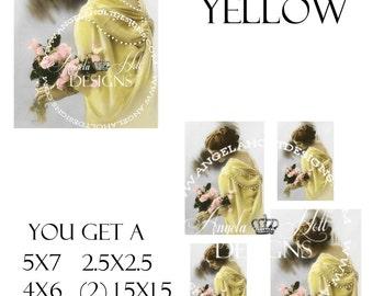 Lady in Yellow 2 Sheet Digi Photo Set