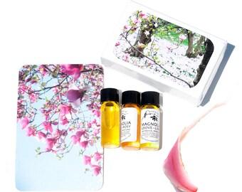Magnolia Grove Perfume Trio, 3 Different Magnolia Perfumes - 3 Mini Jars in Magnolia Gift Box - 2 ml each