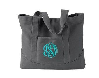 Monogram Tote Bag  -  Monogrammed Tote, Monogrammed Bag, Tote Bag,  Personalized Tote, Monogram Tote, Canvas Tote Bag,  7 tote bag colors
