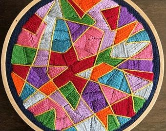 Geometry Hand Embroidery Hoop Art