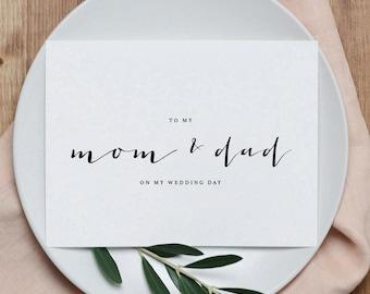 Wedding Card To My Mom + Dad Wedding Day - To My Parents Wedding Card, Wedding Stationery, To My Mom, Thank You Wedding Card, 2 Cards, K4