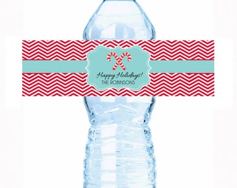"""Personalized Candy Canes Water Bottle Labels - Select the quantity you need below in the """"Pricing & Quantity"""" option tab"""
