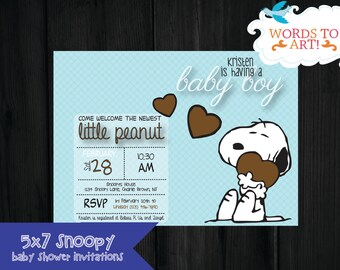 Snoopy baby shower etsy custom snoopy baby shower invitations filmwisefo
