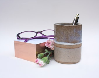 Handmade stoneware cylinder for pen holder or desk organiser, dark stoneware pen or pencil cup for unique and original Xmas gift idea