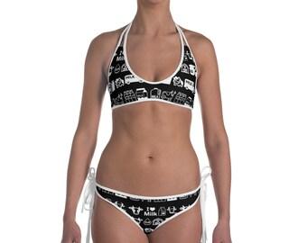 I Love Milk Cows Kawaii Black and White All Over Print Bikini