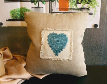 Heart Folk Style Embroidered Pillow 11x12""