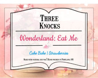 Wonderland: Eat Me - Three Knocks Candles - Book Candle - Alice in Wonderland Candle - Scented Soy Candle - 8 oz Jar