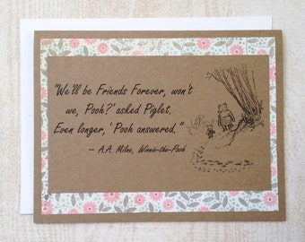 Friends Forever - Winnie the Pooh Quote - Classic Piglet and Pooh Pink Floral Border