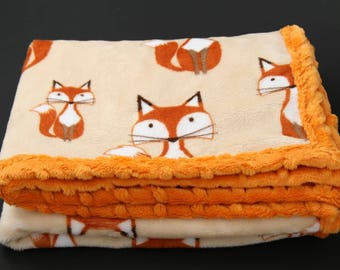 Fox baby blanket, plush blanket, pram blanket, neutral baby blanket, baby shower, New baby gift, car seat blanket, Orange baby blanket