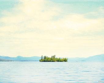 "Lake George Large Wall Art // Large Nature Photography // Serene Landscape // Modern Home Decor // Large Living Room Art // ""Lake Island"""