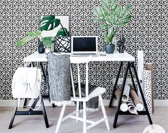 Tribal Pattern Wallpaper / Traditional or Removable Wallpape