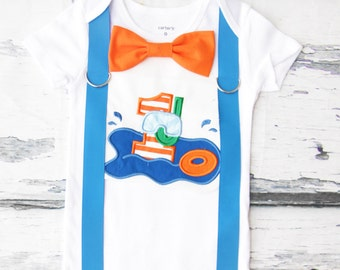 Baby Boy First Birthday pool party themed first birthday pool party bow tie suspender set Boy one year cake smash beach themed first