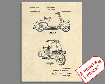 Patent Prints - Vespa 125cc Scooter Patent Art - Vintage Vespa 125 Motorbike Patent Print - Motorbike Patent Poster Wall Art Prints -  310