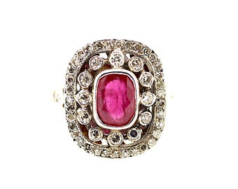 15ct Victorian Ruby Diamond Ring / Antique Ruby Ring / Vintage Ruby Ring / Ruby Diamond Ring / Gold Ruby Diamond / Ruby and Diamond Ring